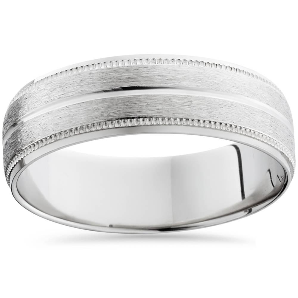 Milgrain Men S Wedding Ring In Platinum 6mm: 950 Platinum 6mm Comfort Fit Brushed Wedding Band Mens