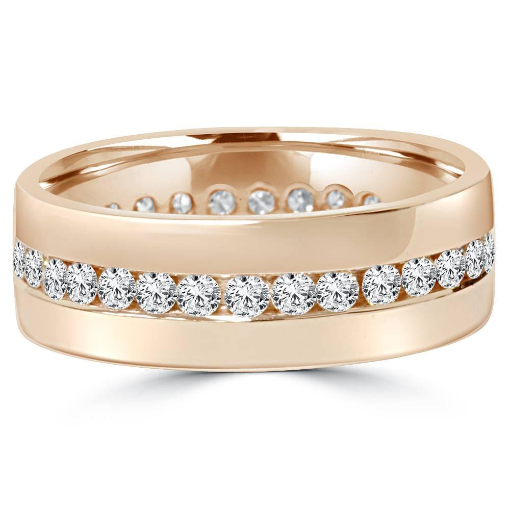 Mens 1 1/10Ct Diamond Eternity Wedding Ring 14K Rose Gold Comfort Band | eBay