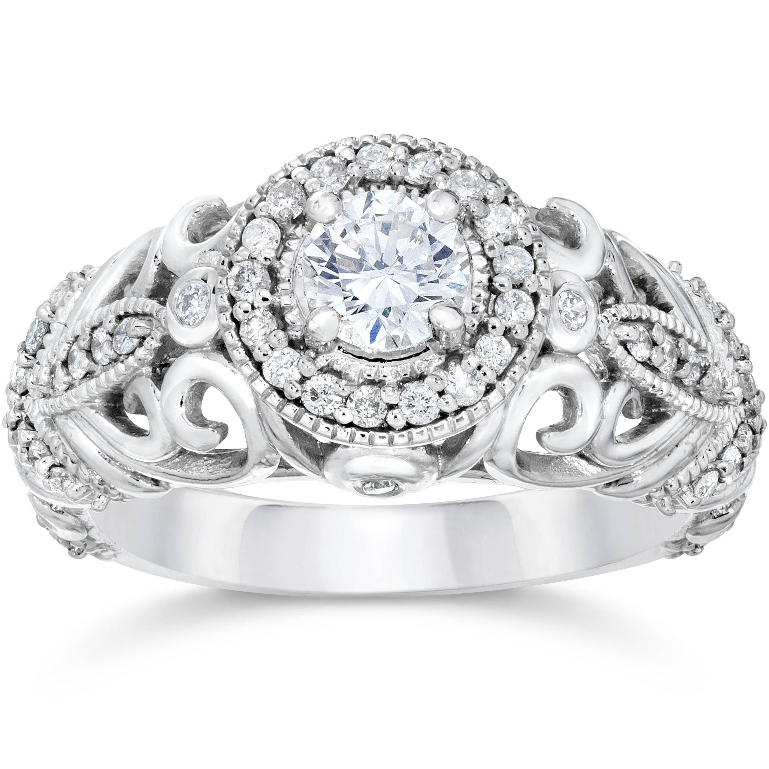 3/4ct Vintage Diamond Engagement Ring 14K White Gold