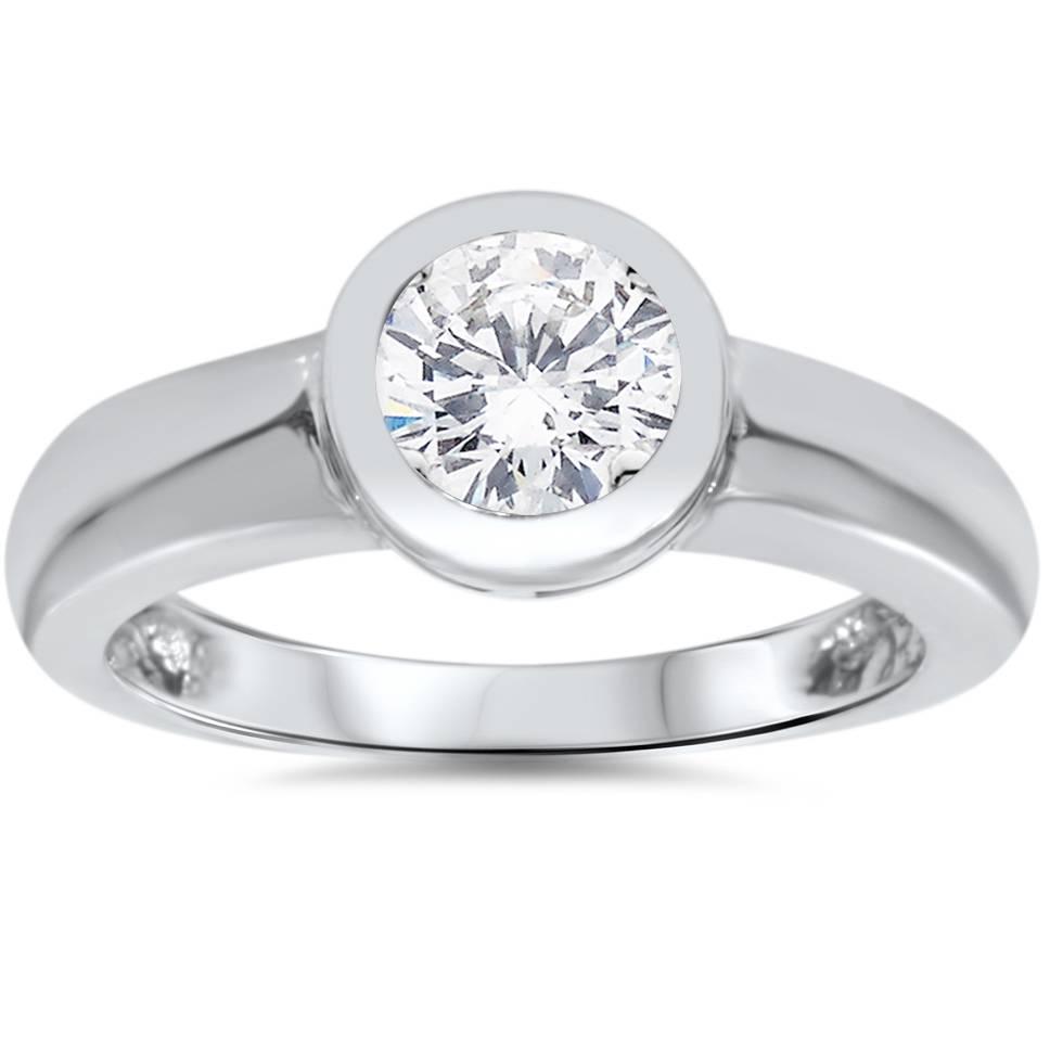 1ct bezel set solitaire diamond engagement ring 14k white