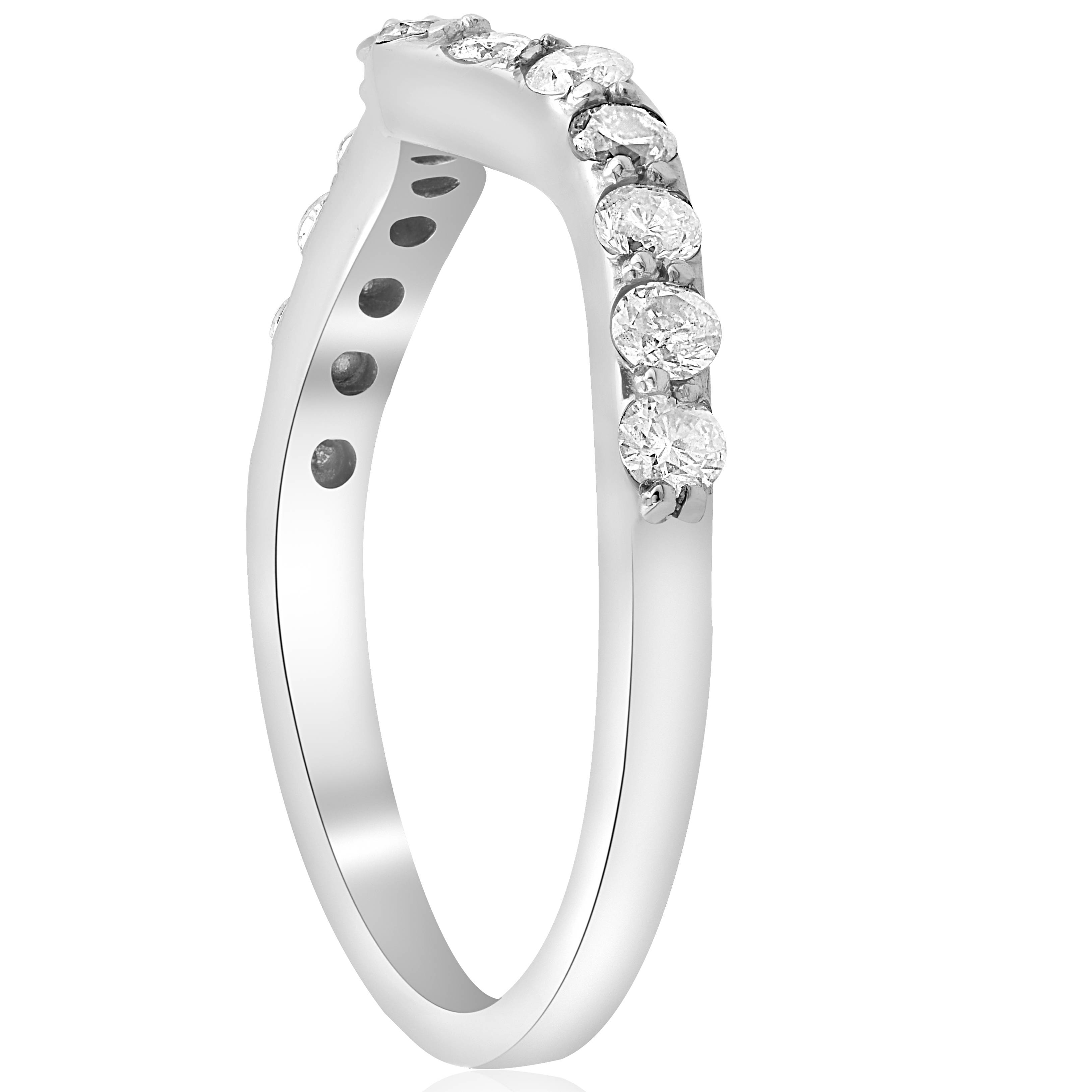 Curved Wedding Bands: 1/2ct Curved Diamond Notched Wedding Ring Enhancer 14K