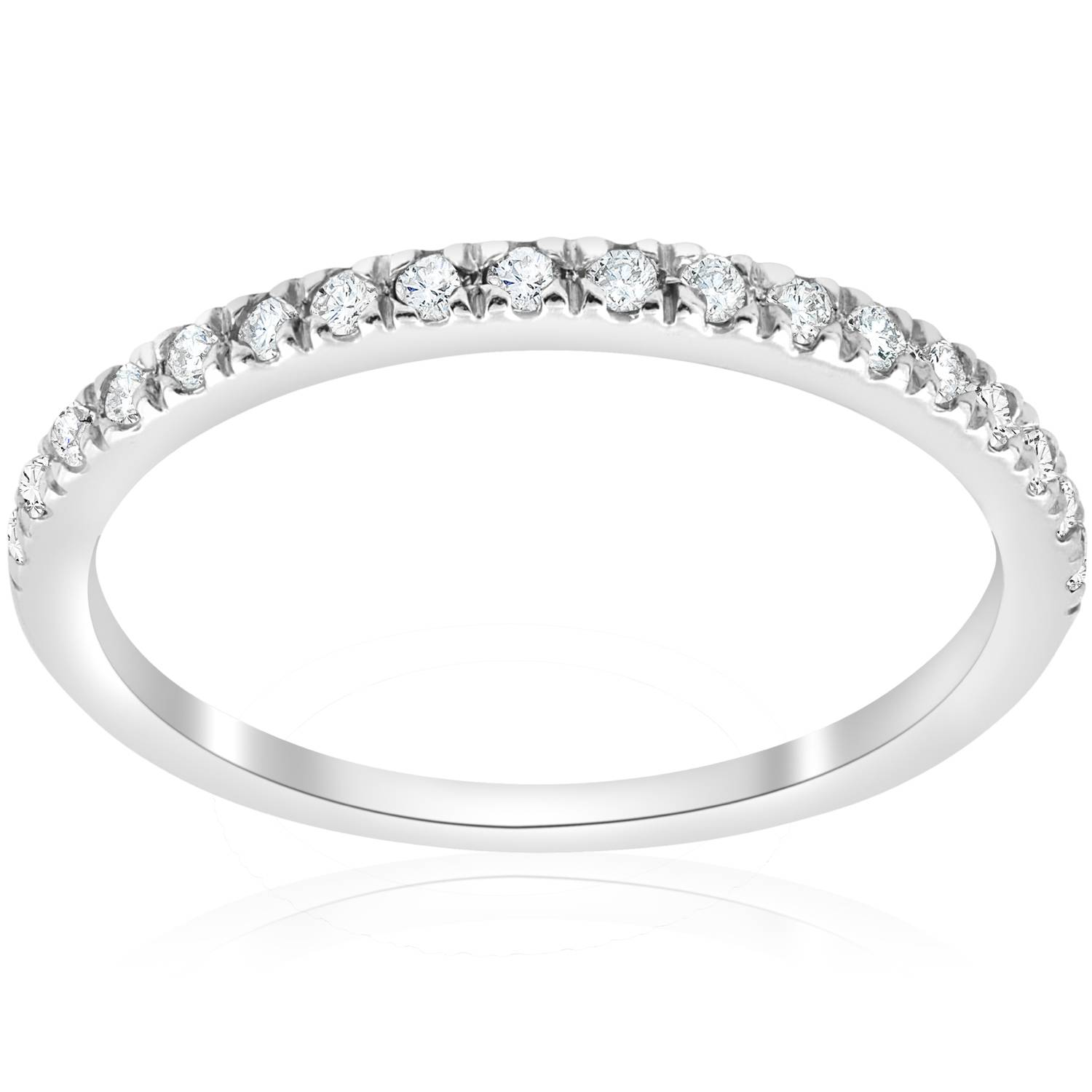 1/4 Ct Pave Diamond Wedding Pave Ring Womens Stackable