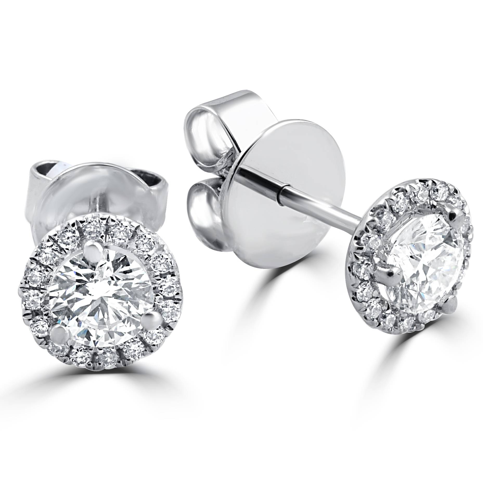 G/I1 Halo Diamond Studs 1/2 Carat 18K White Gold 6mm | eBay