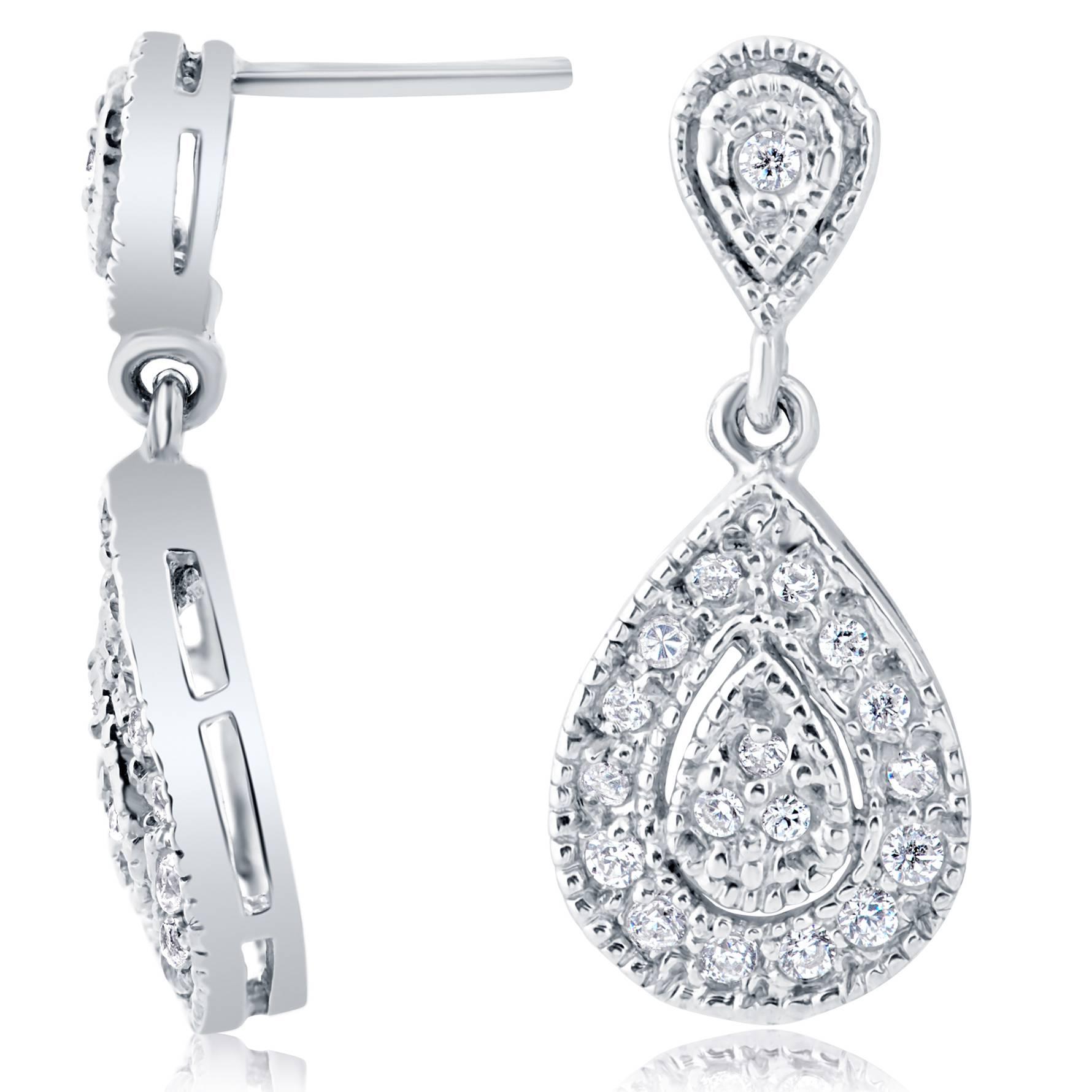 12 ct pear shape dangle diamond earrings 10 karat white