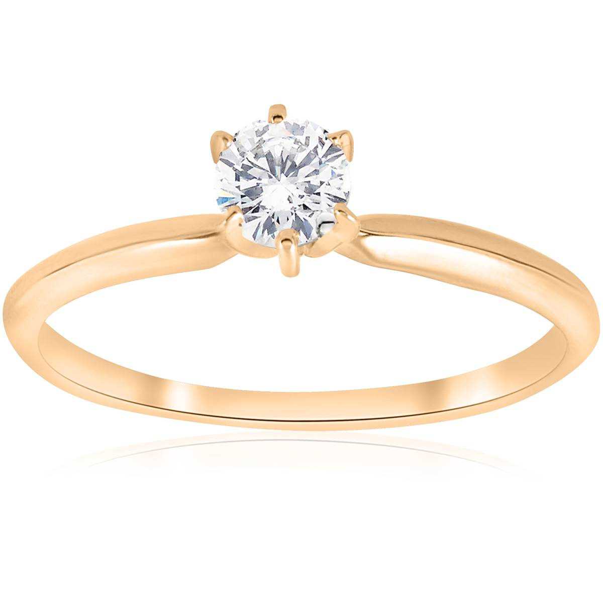 14k Yellow Gold 1/4ct Round Diamond Solitaire Engagement ...