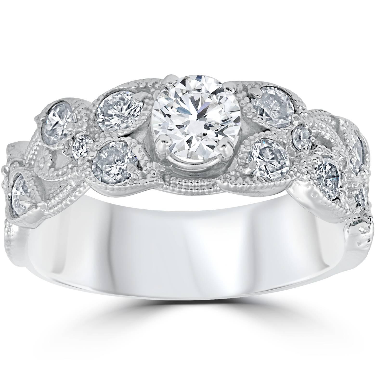 2ct vintage filigree engagement ring 14k white gold