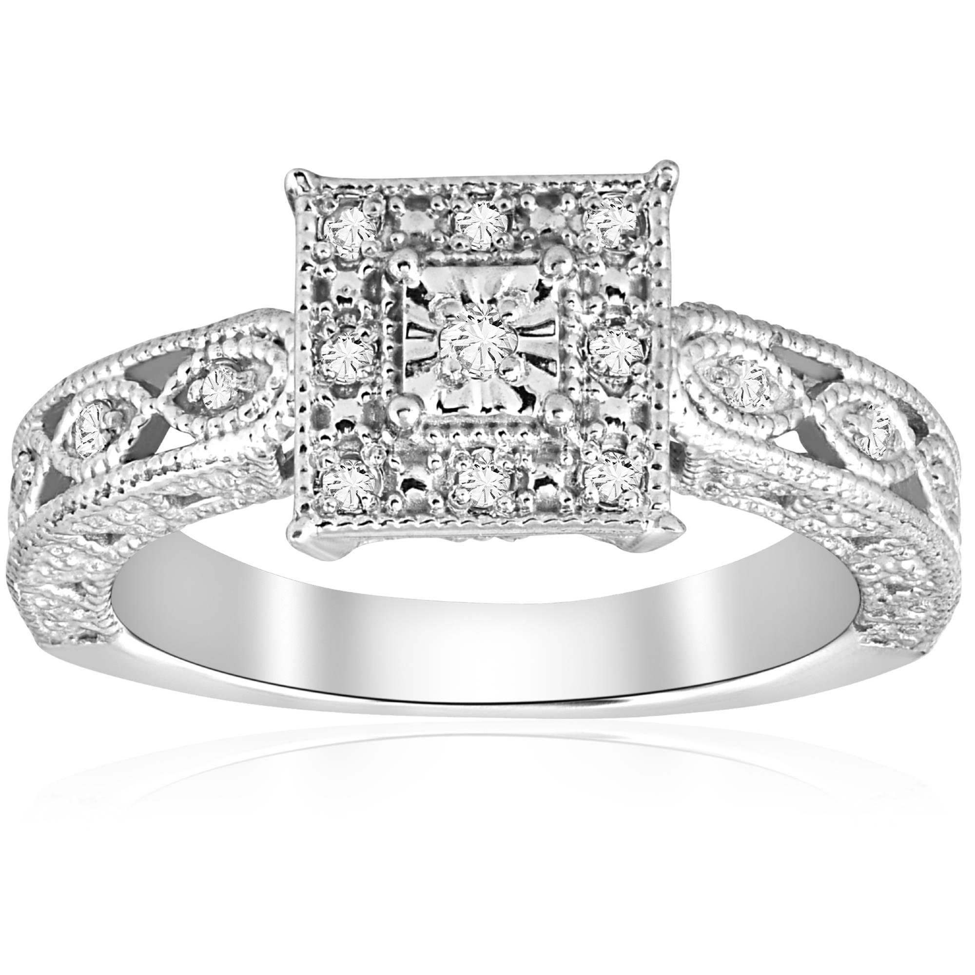 1 10ct vintage diamond ring silver engagement anniversary. Black Bedroom Furniture Sets. Home Design Ideas