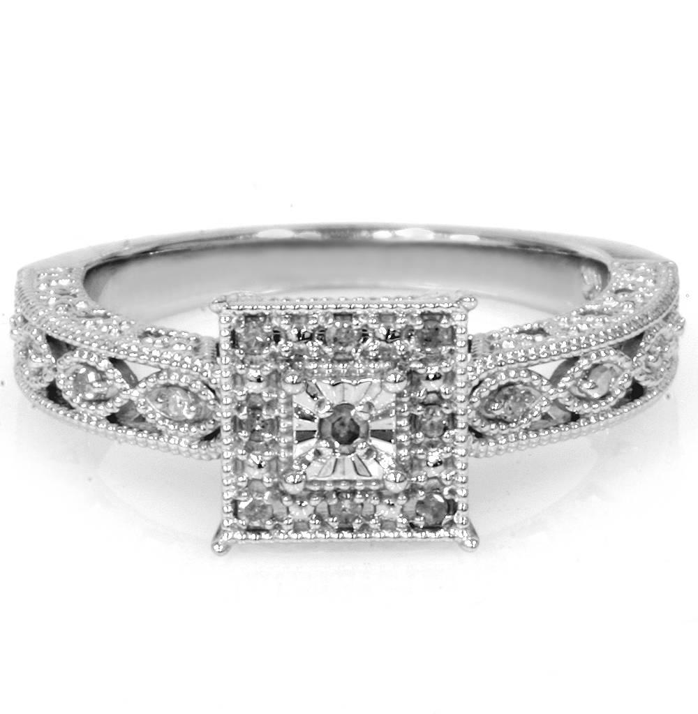 1/10ct Vintage Diamond Ring Silver Engagement Anniversary