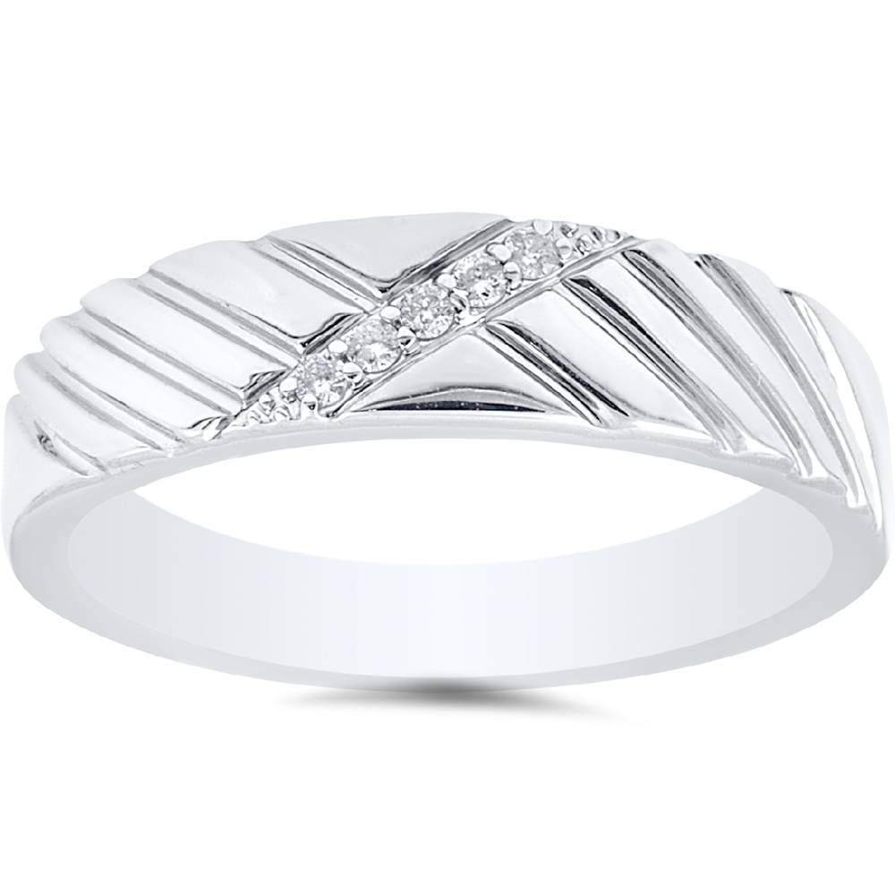 Mens Diamond 14K White Gold Wedding Ring