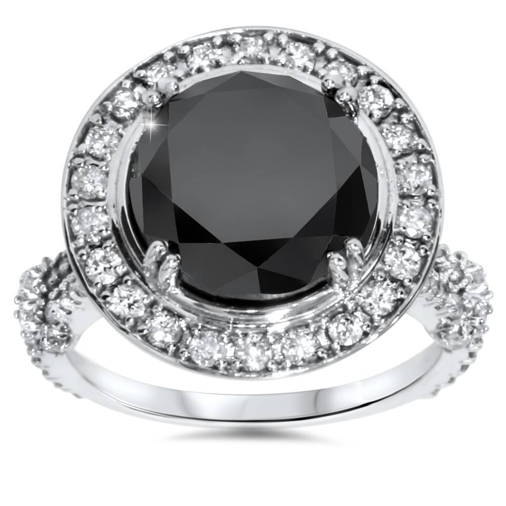 Women S 6ct Treated Black Diamond Halo Vintage Engagement Ring 14k
