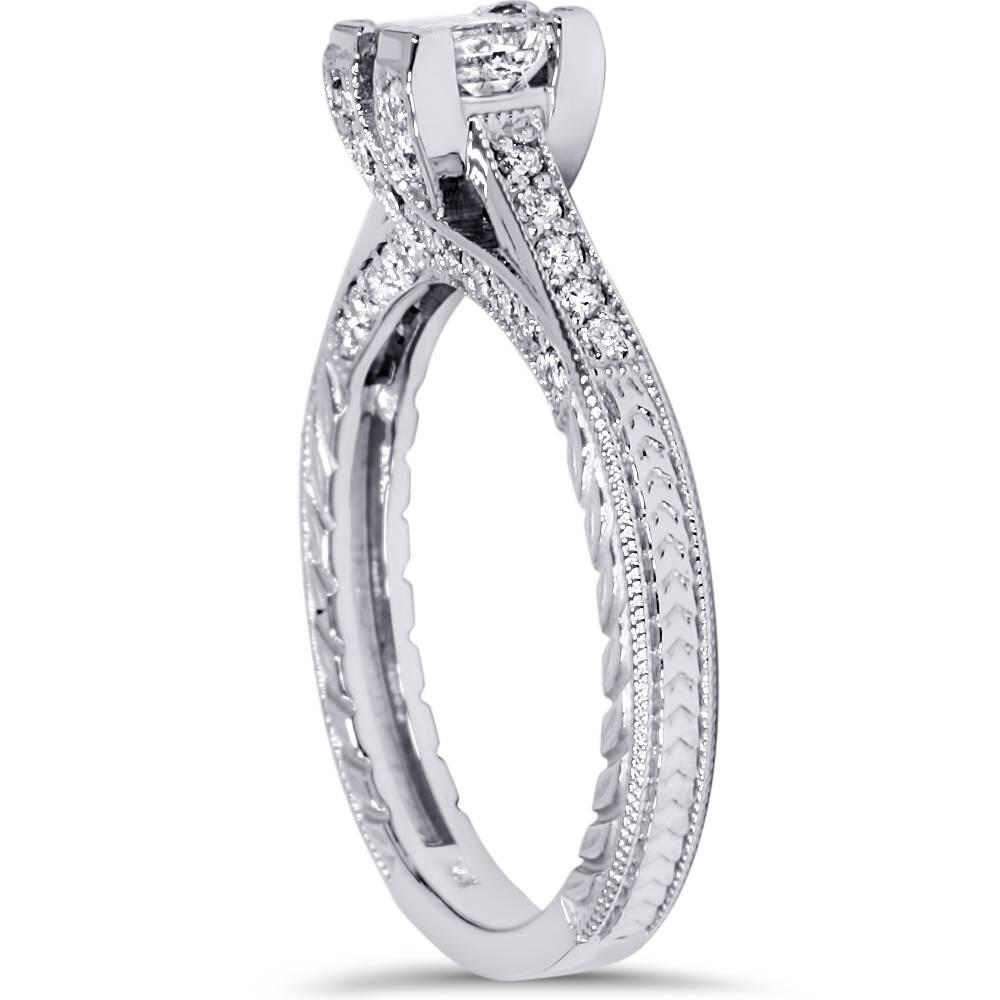 1ct Princess Cut Vintage Diamond Engagement Ring Antique