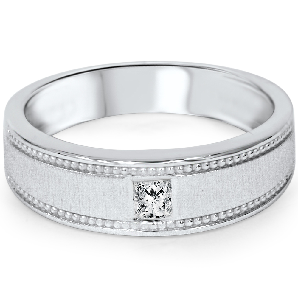 Mens Princess Cut Diamond Wedding Ring 10K White Gold