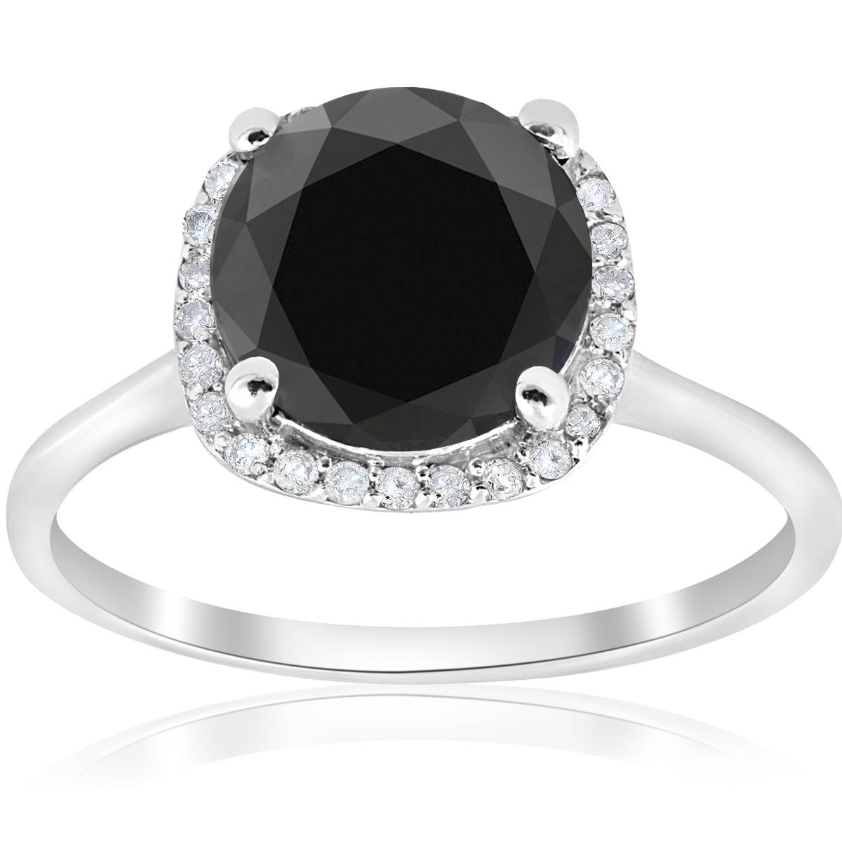 3 1/10ct Treated Black Diamond Cushion Halo Engagement ...