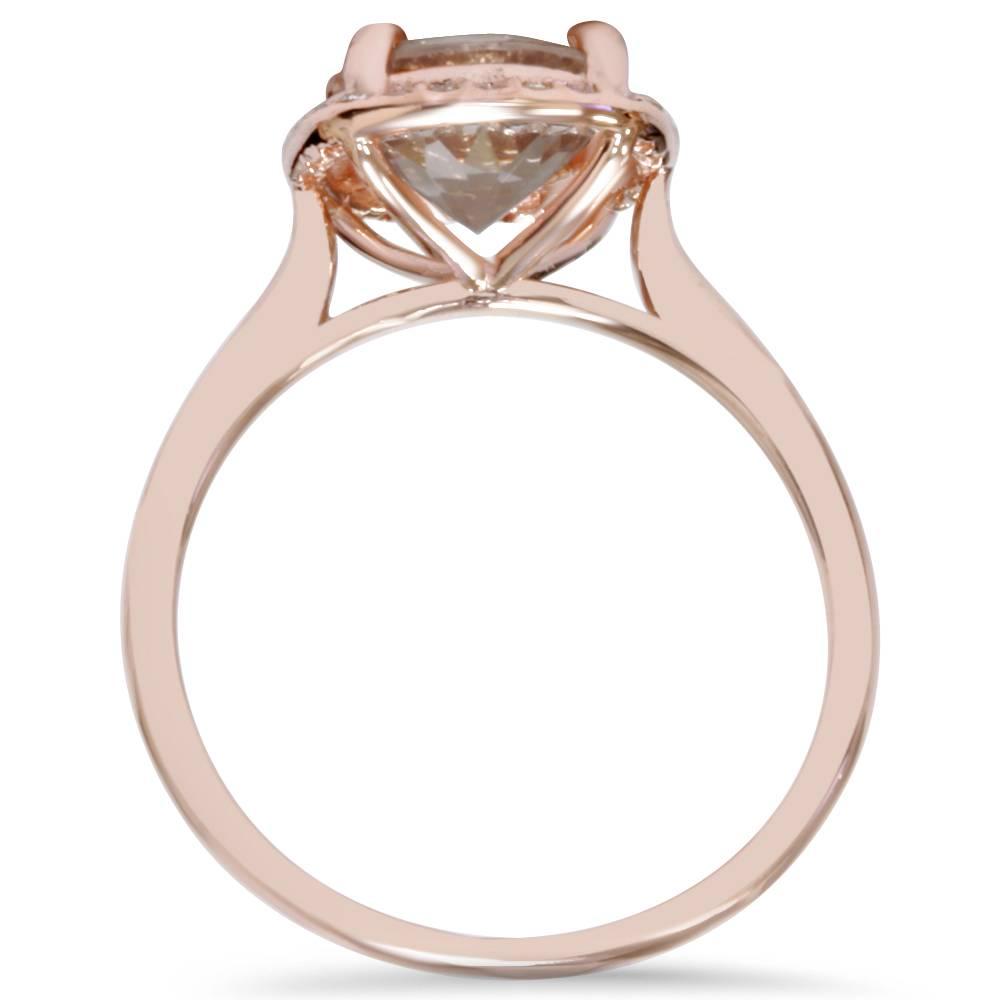 305c44ddcd1c2 1 3 4Ct Morganite   Diamond Cushion Halo 14K Rose Gold Engagement Ring.  554.99
