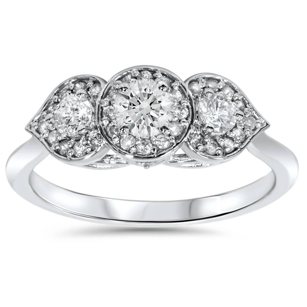 a90c84b013420 Details about 1/2ct Vintage 3 Stone Floral Petal Diamond Engagement Ring  14K White Gold