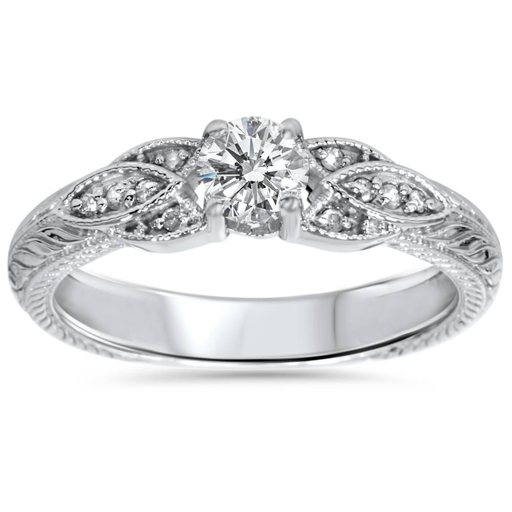 Vintage Engraved Diamond Wedding Band With Milgrain Detail: 3/8ct Vintage Diamond Floral Engraved Engagement Ring 14K