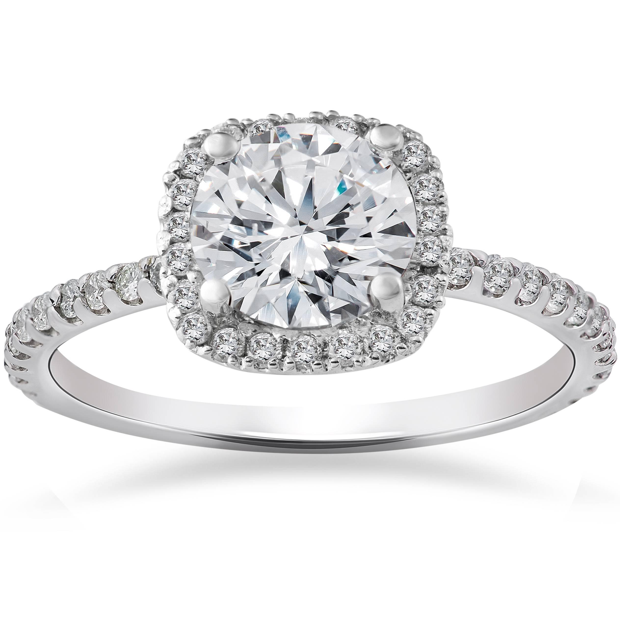 2 Carat Cushion Halo Enhanced Diamond Engagement Ring 14K White Gold | EBay