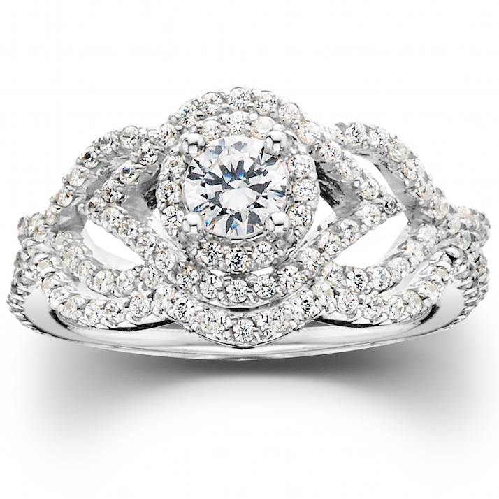 1 Ct Diamond Intertwined Engagement Matching Wedding Ring