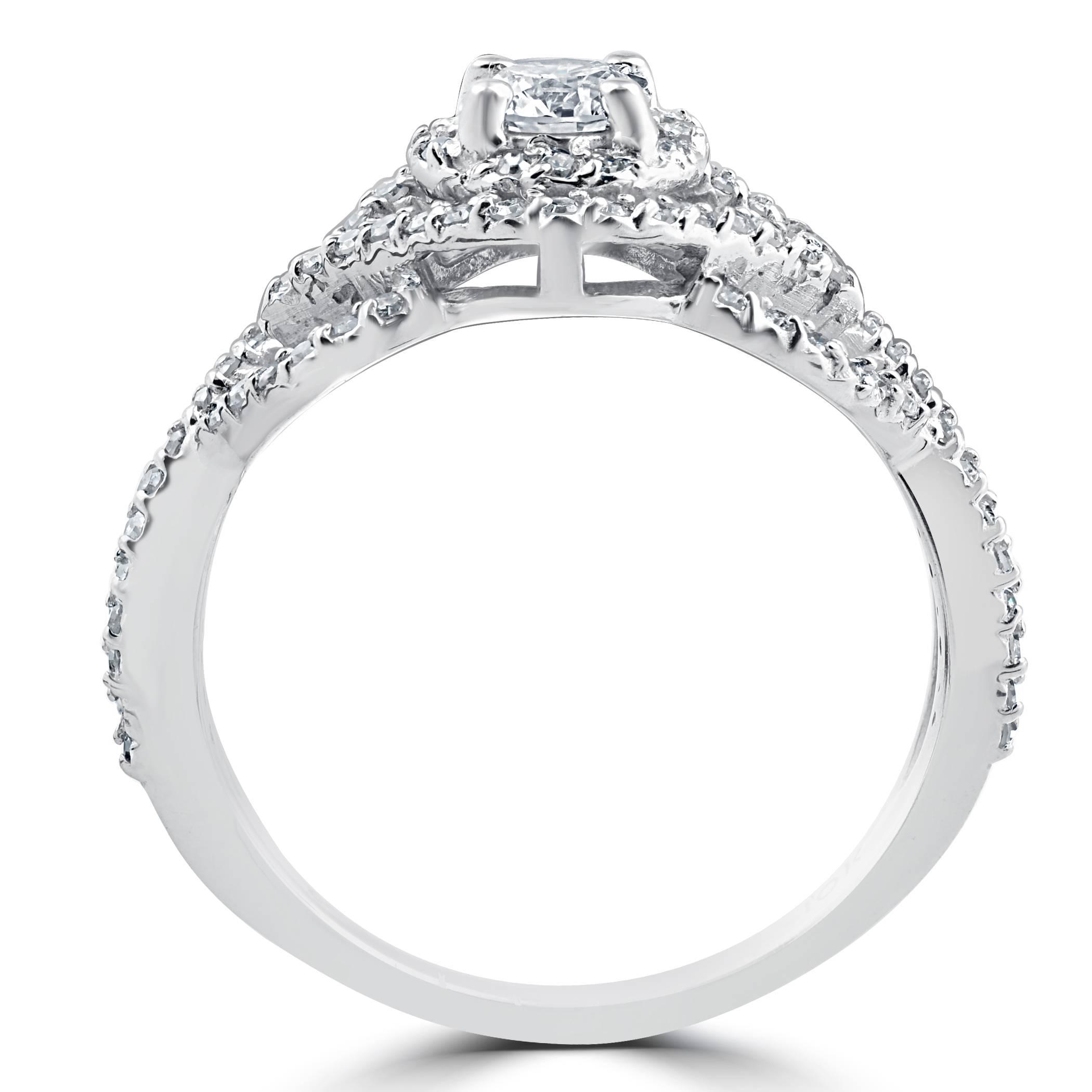 Matching Diamond Engagement And Wedding Ring 1 46ct: 1 Ct Diamond Intertwined Engagement Matching Wedding Ring