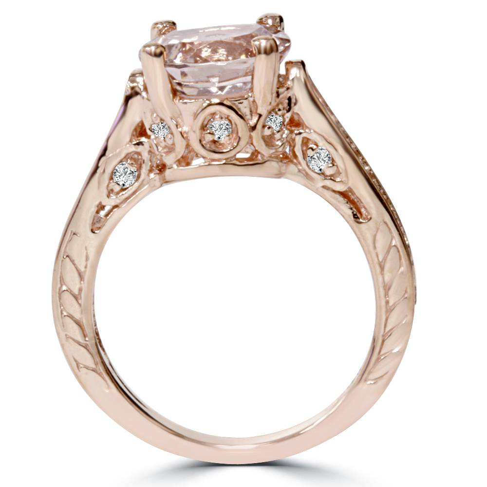 Engagement Rings In Gold: Morganite & Diamond Vintage Engagement Ring 2 Carat