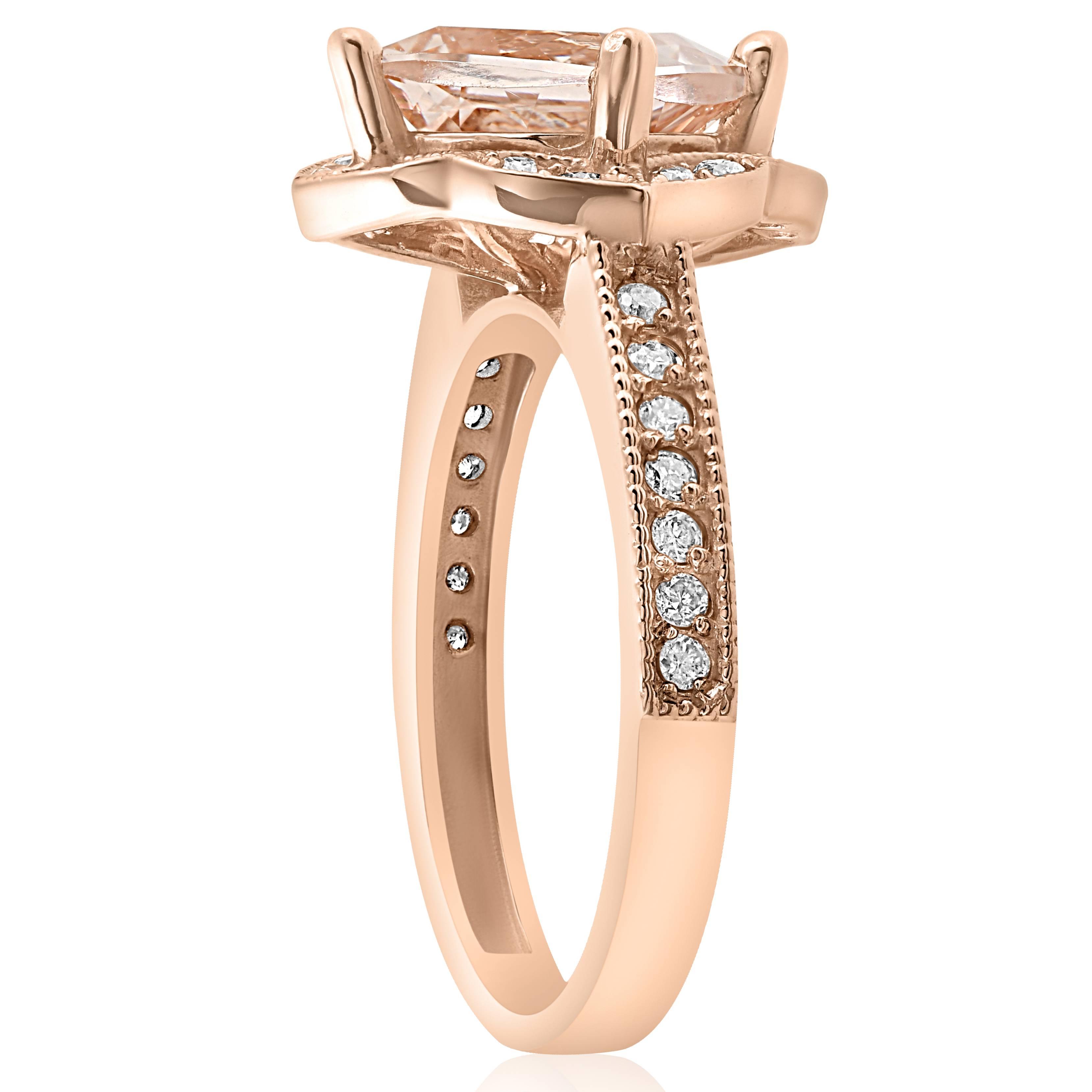 2 1/3ct Cushion Morganite Vintage Diamond Halo Engagement
