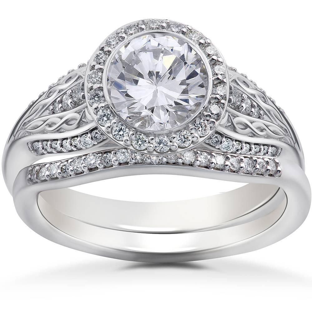 3/8 ct Lab Grown Diamond Zoe Engagement Ring Setting & Matching Wedding Band