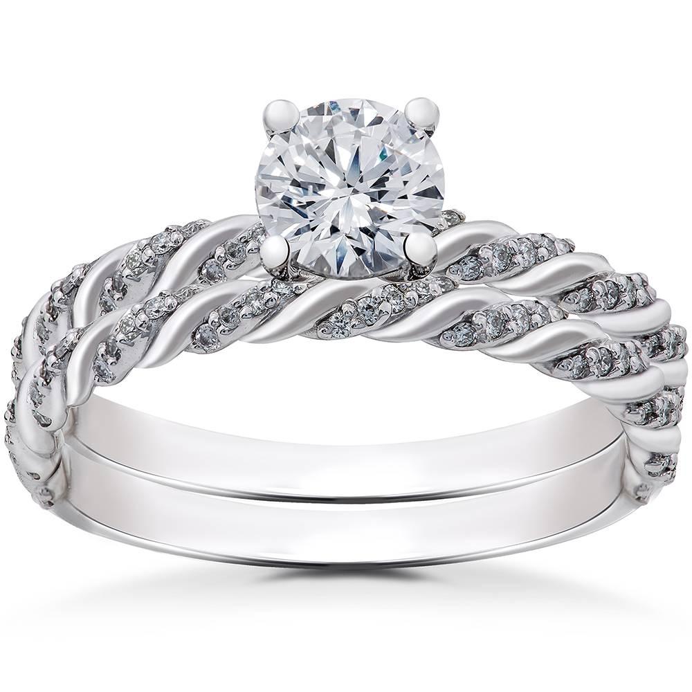 1/3 ct Diamond Mia Engagement Ring Setting & Matching Wedding Band