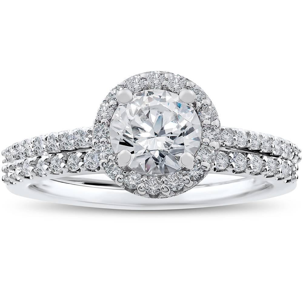 1/2 ct Halo Vintage Round Diamond Engagement Ring Setting & Wedding Band Set