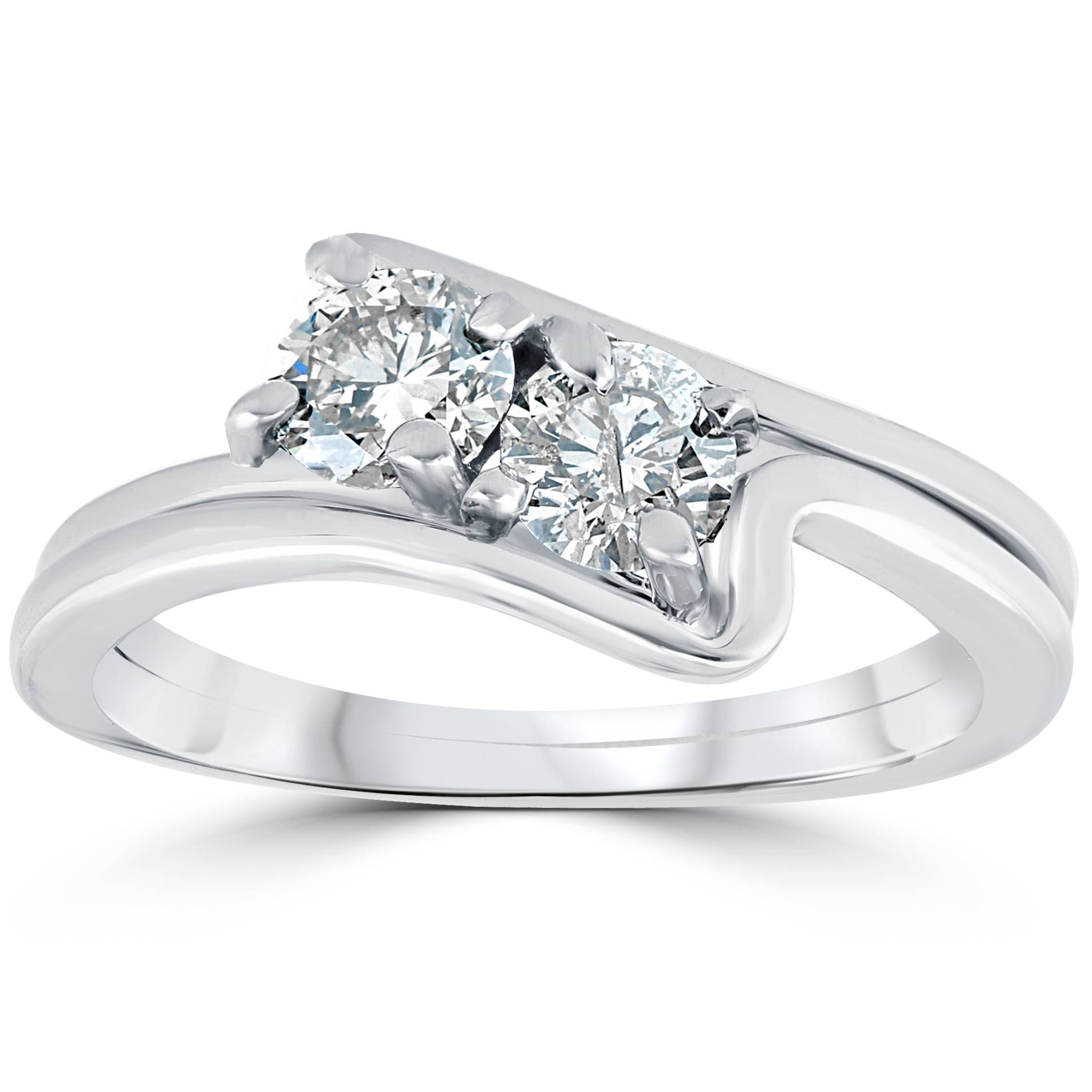 Stone Wedding Rings: 3/4Ct Two Stone Diamond Forever Us Engagement Ring Wedding