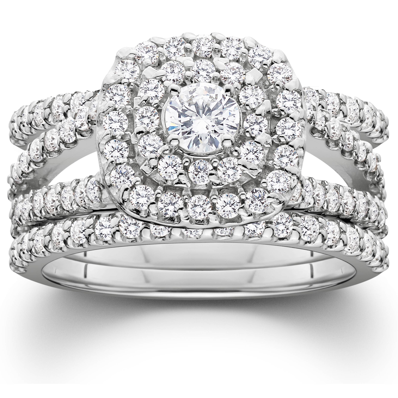 1 1 4ct diamond engagement cushion halo wedding ring trio. Black Bedroom Furniture Sets. Home Design Ideas