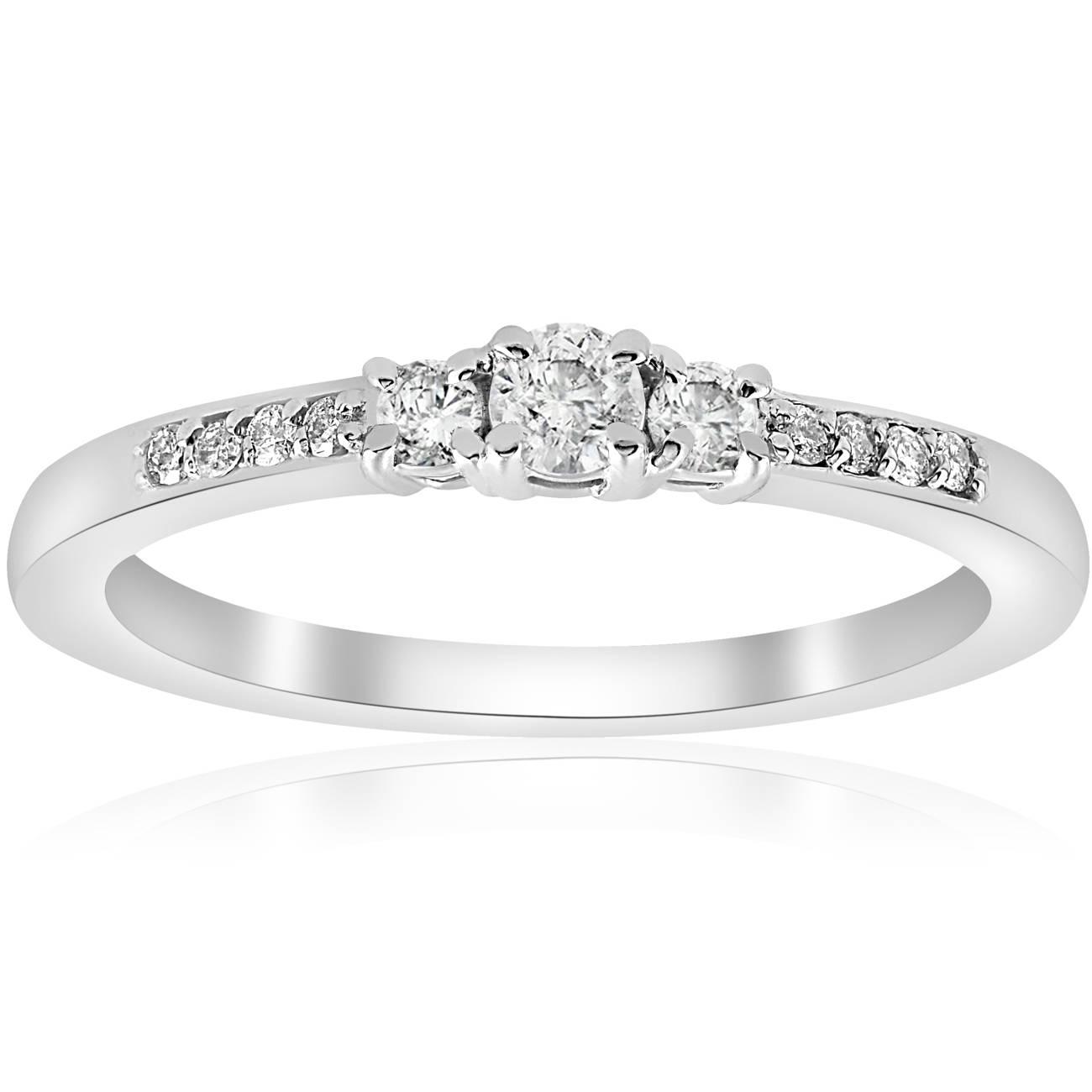 1 4ct Three Stone Round Diamond Engagement Ring 14K White Gold Solitaire Jewl