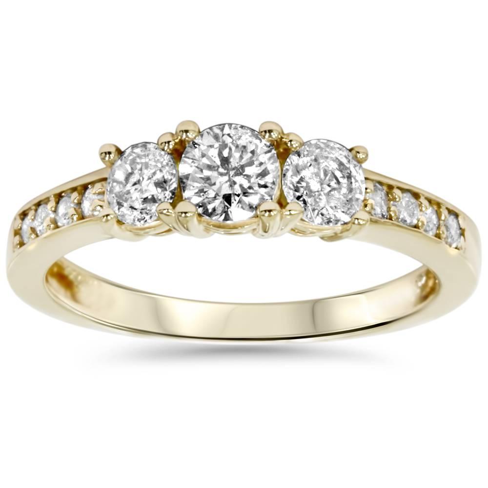 1ct 3 stone diamond engagement ring 14k yellow gold ebay. Black Bedroom Furniture Sets. Home Design Ideas