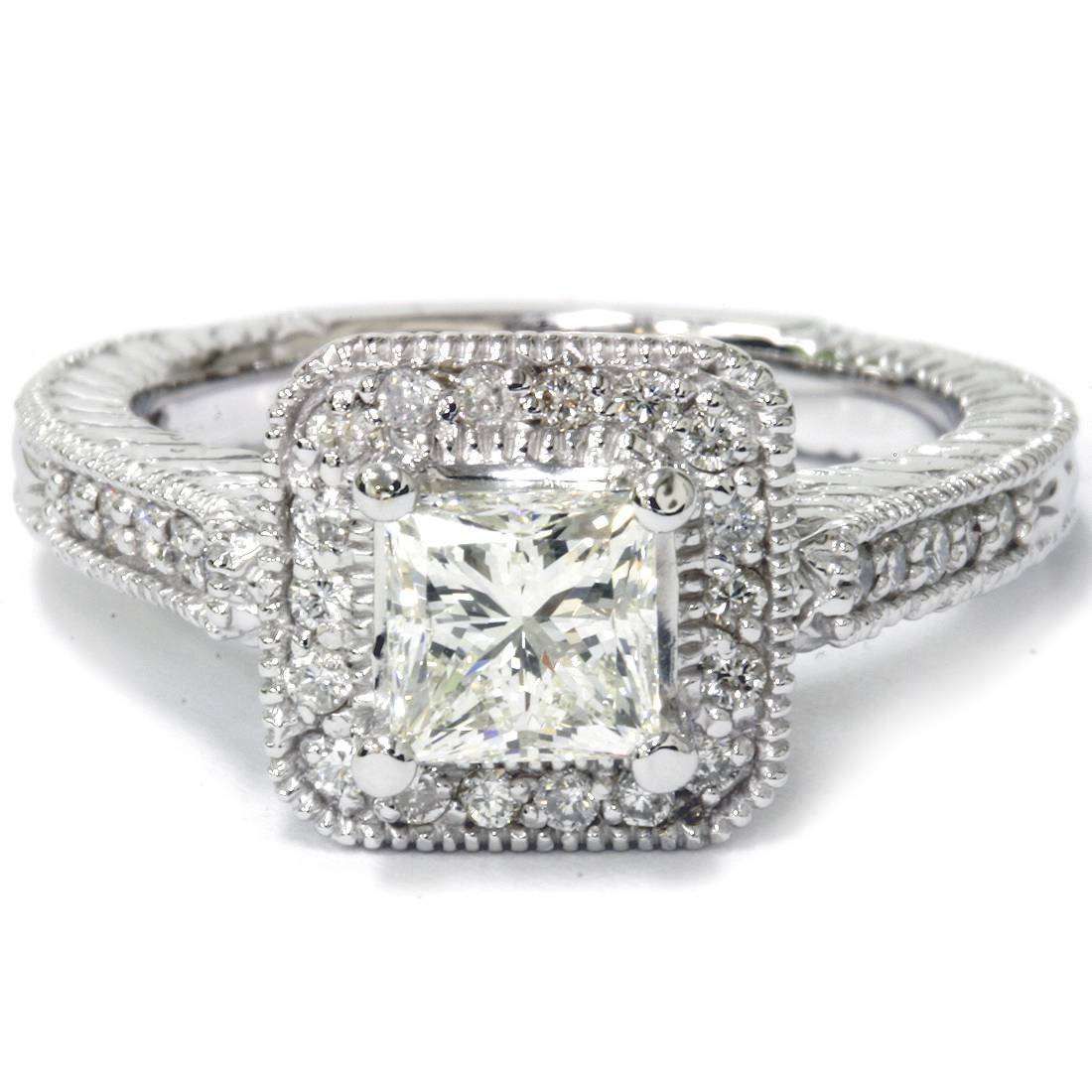 1 1/4ct Princess Cut Enhanced Diamond Vintage Halo ...