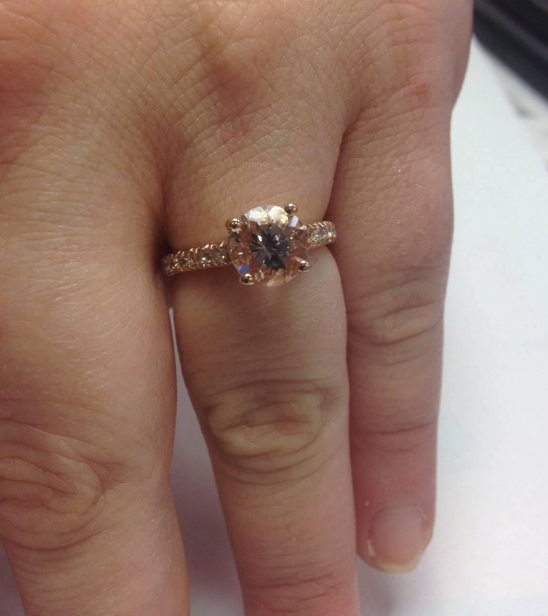 8MM Morganite & 1 4 Carat Diamond 14K Rose Gold Engagement Ring 1