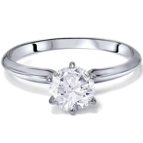 775b4fd3c1c G-H SI 1 Carat Round Solitaire Enhanced Diamond Engagement Ring 14K ...