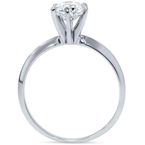 G-H-SI-1-Carat-Round-Solitaire-Enhanced-Diamond-Engagement-Ring-14K-White-Gold thumbnail 2