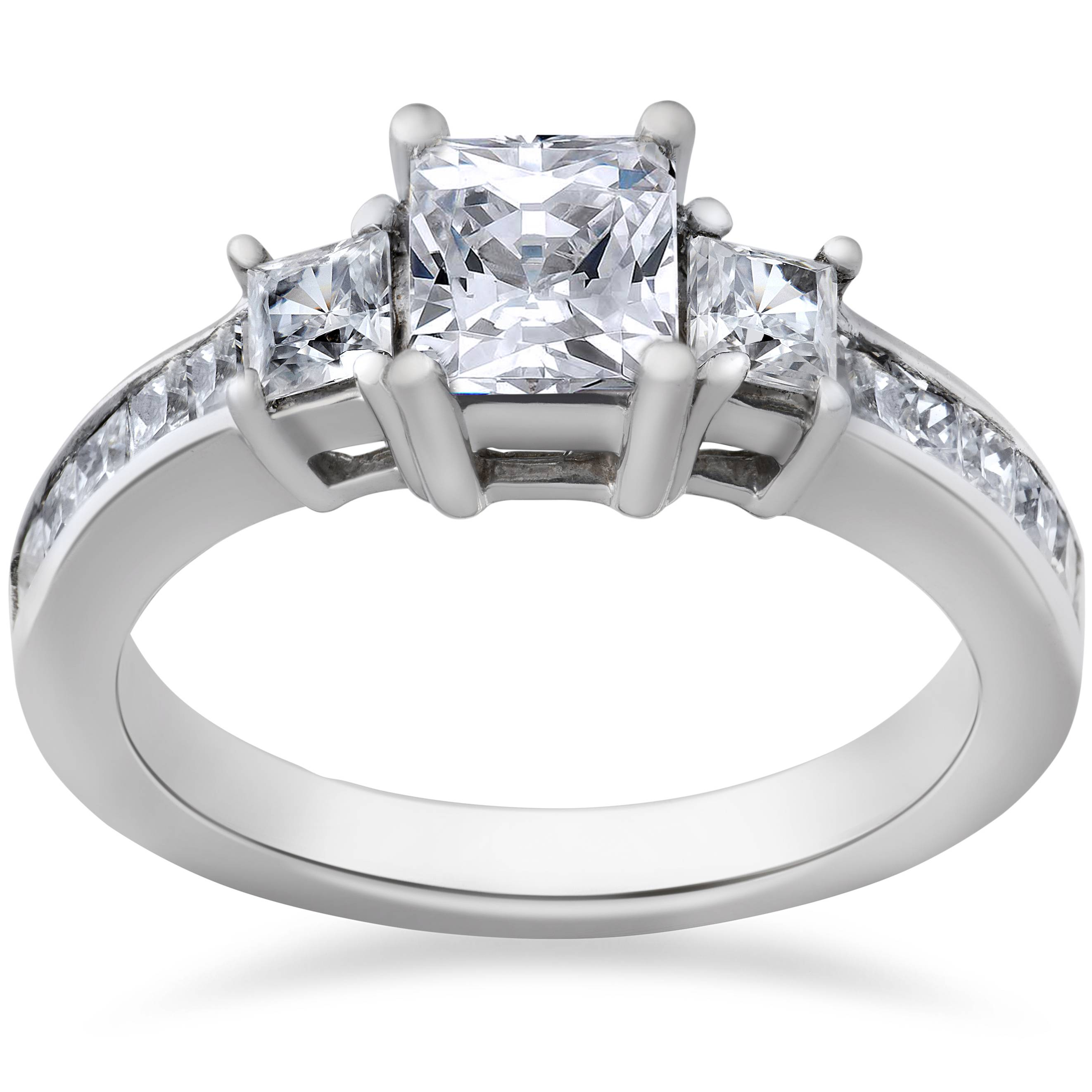 princess cut diamond engagement ring 3 stone 1 1 2ct 14k. Black Bedroom Furniture Sets. Home Design Ideas