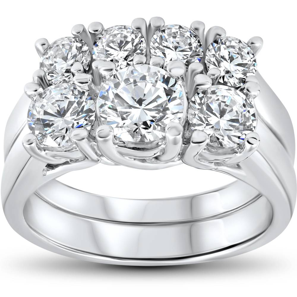Stone Wedding Rings: 3 Ct Diamond Engagement Wedding Ring Set 3-Stone Matching