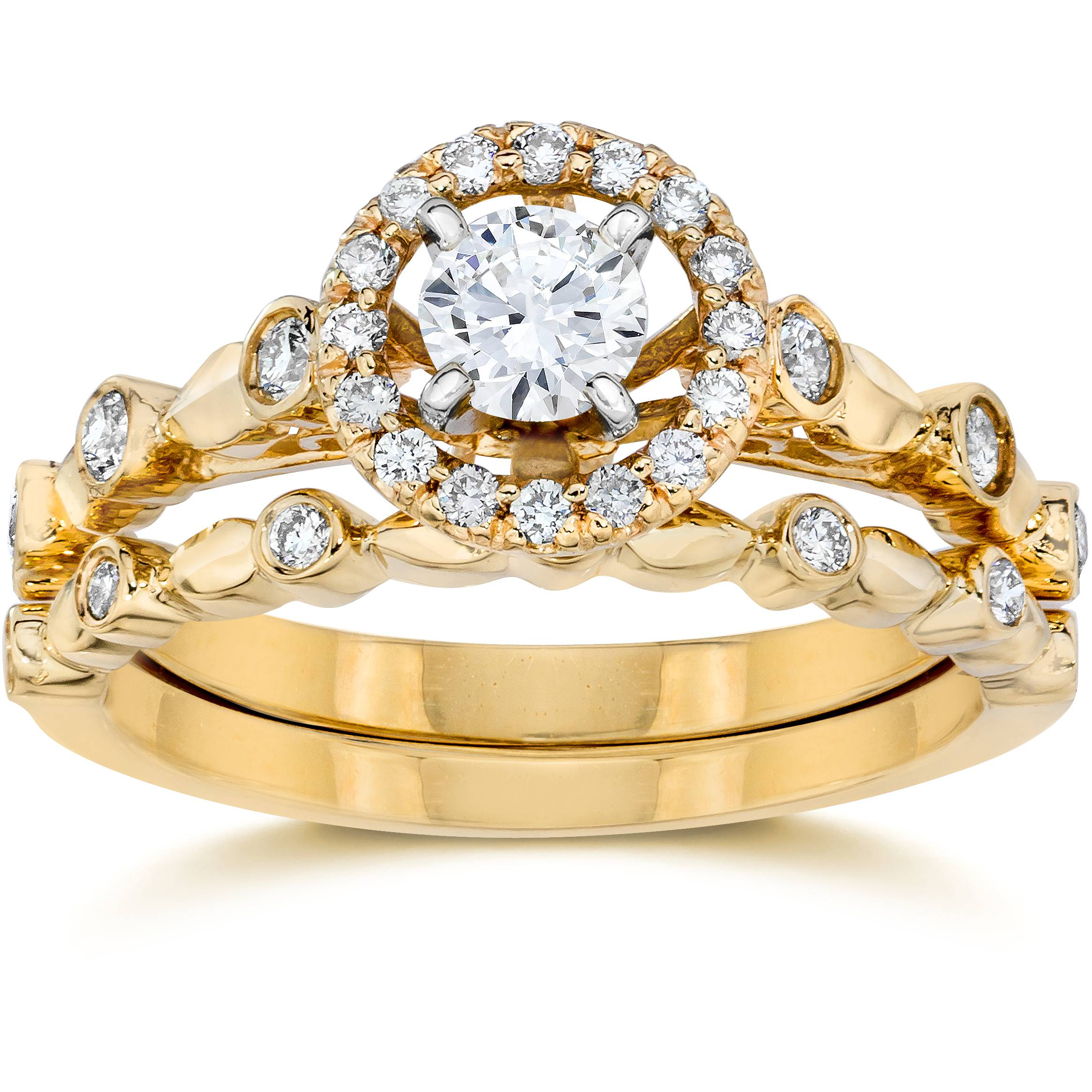 yellow gold wedding rings 60ct halo engagement wedding ring set 14k yellow 1518