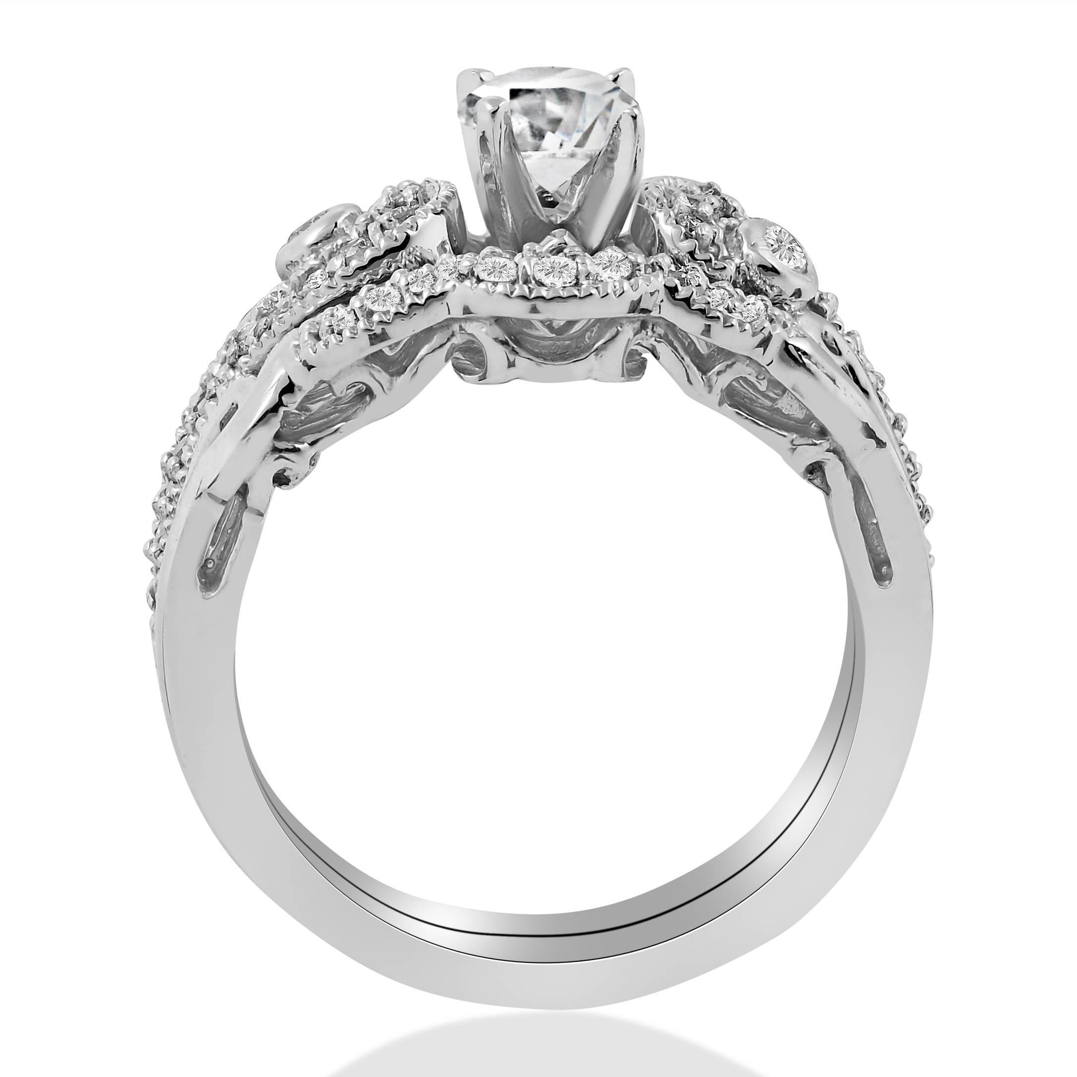 3 4ct Diamond Engagement Wedding Ring Matching Set 14K White Gold