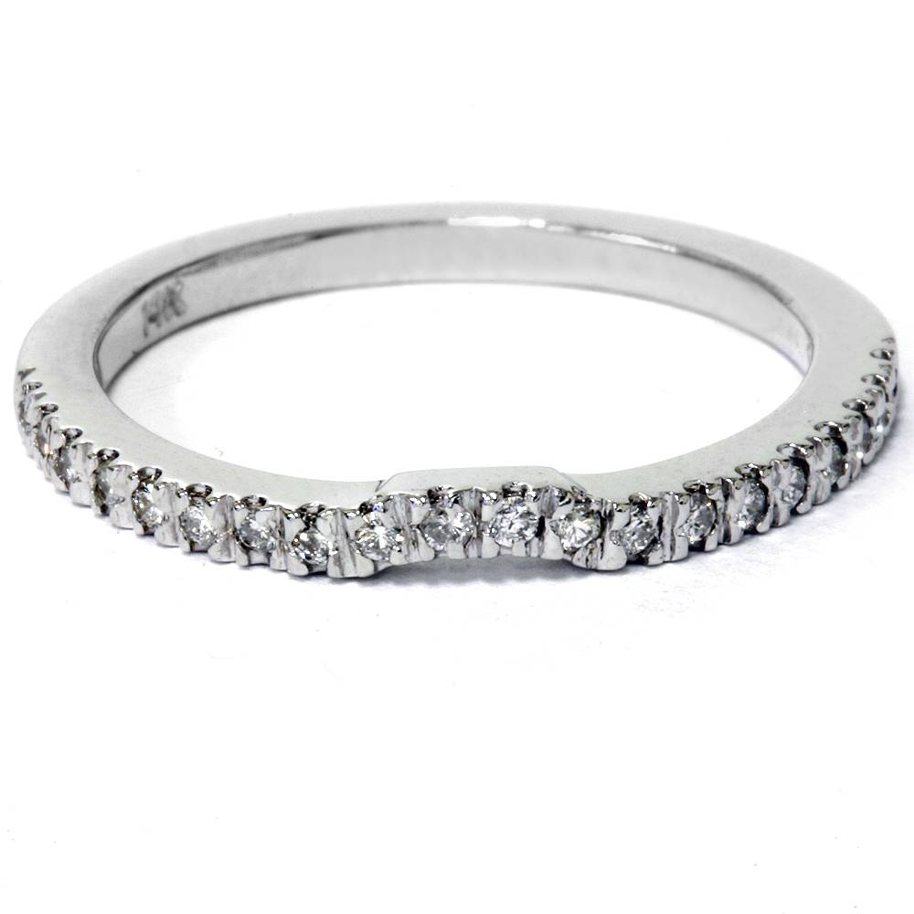 Image Is Loading 16ctcurveddiamondweddingband14kwhite: Curved Wedding Band 0 5ct Diamonds At Reisefeber.org