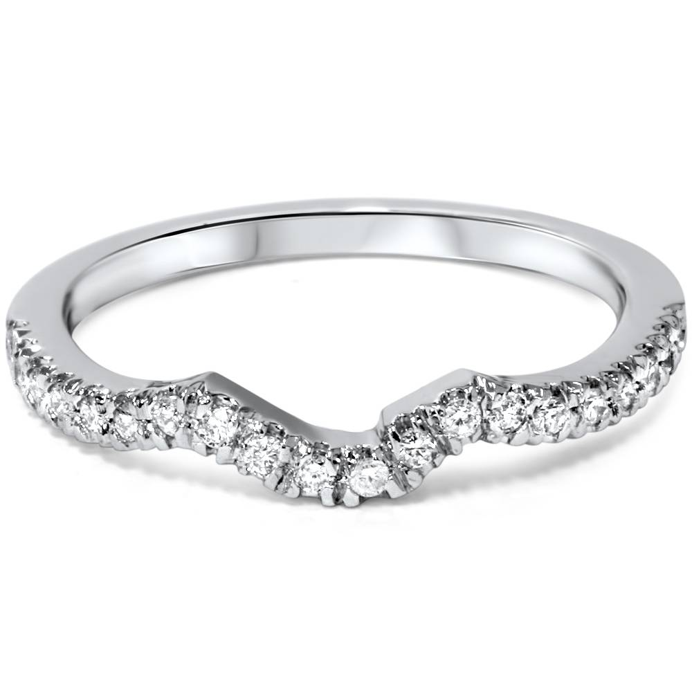 Image Is Loading 16ctcurveddiamondweddinggaurdringband: White Gold Diamond Curved Wedding Bands At Reisefeber.org