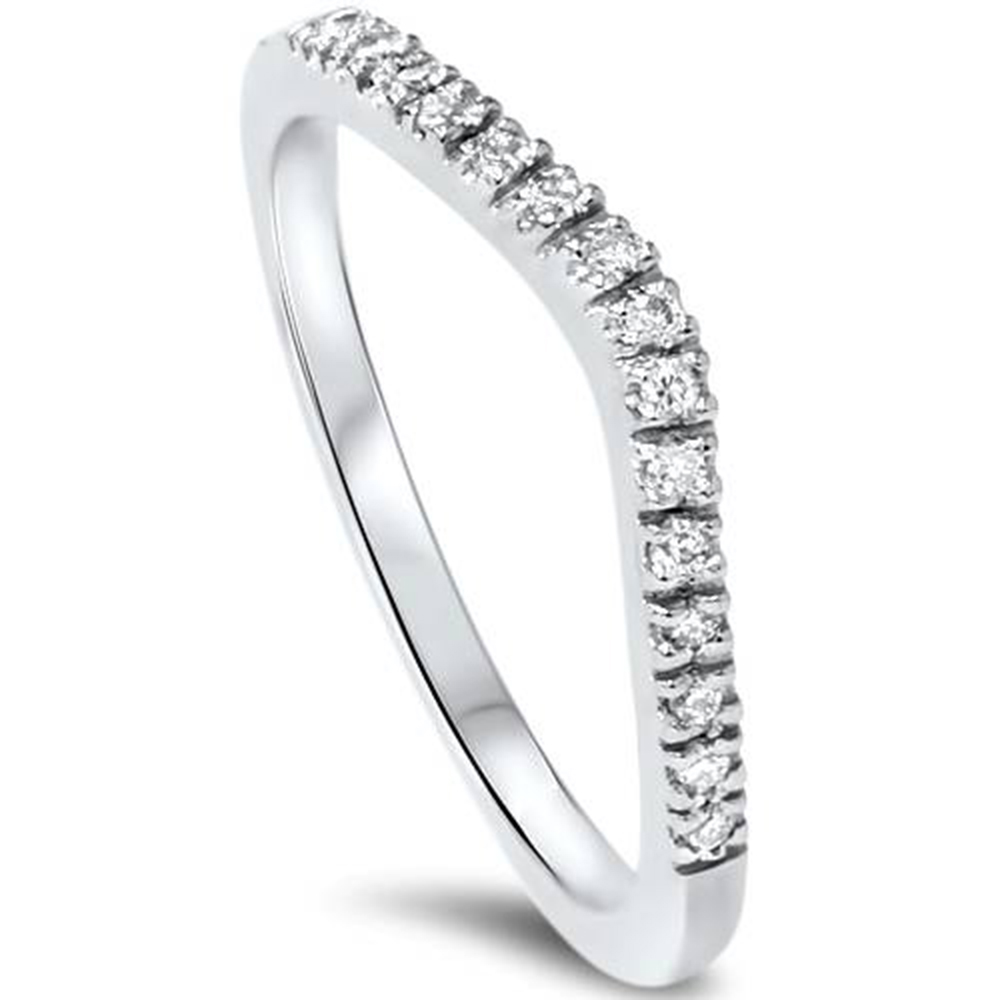 1 8ct Curved Diamond Wedding Ring 14K White gold