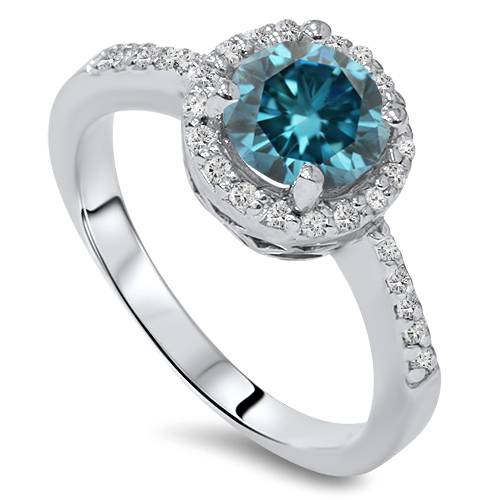 1-3-4ct-Treated-Blue-amp-White-Diamond-Halo-Engagement-Ring-Solid-14K-White-Gold