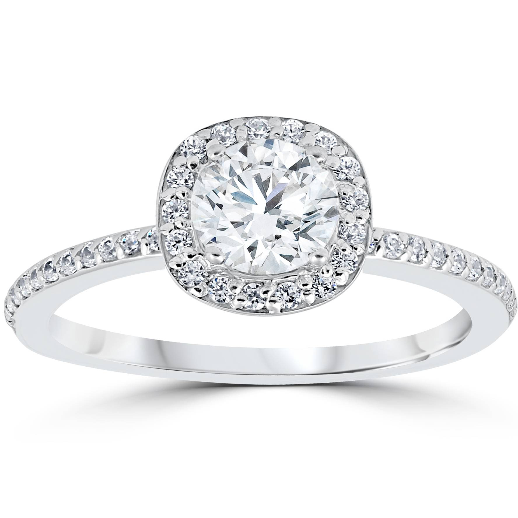 1ct Diamond Engagement Ring Cushion Halo Vintage Solitaire 14K