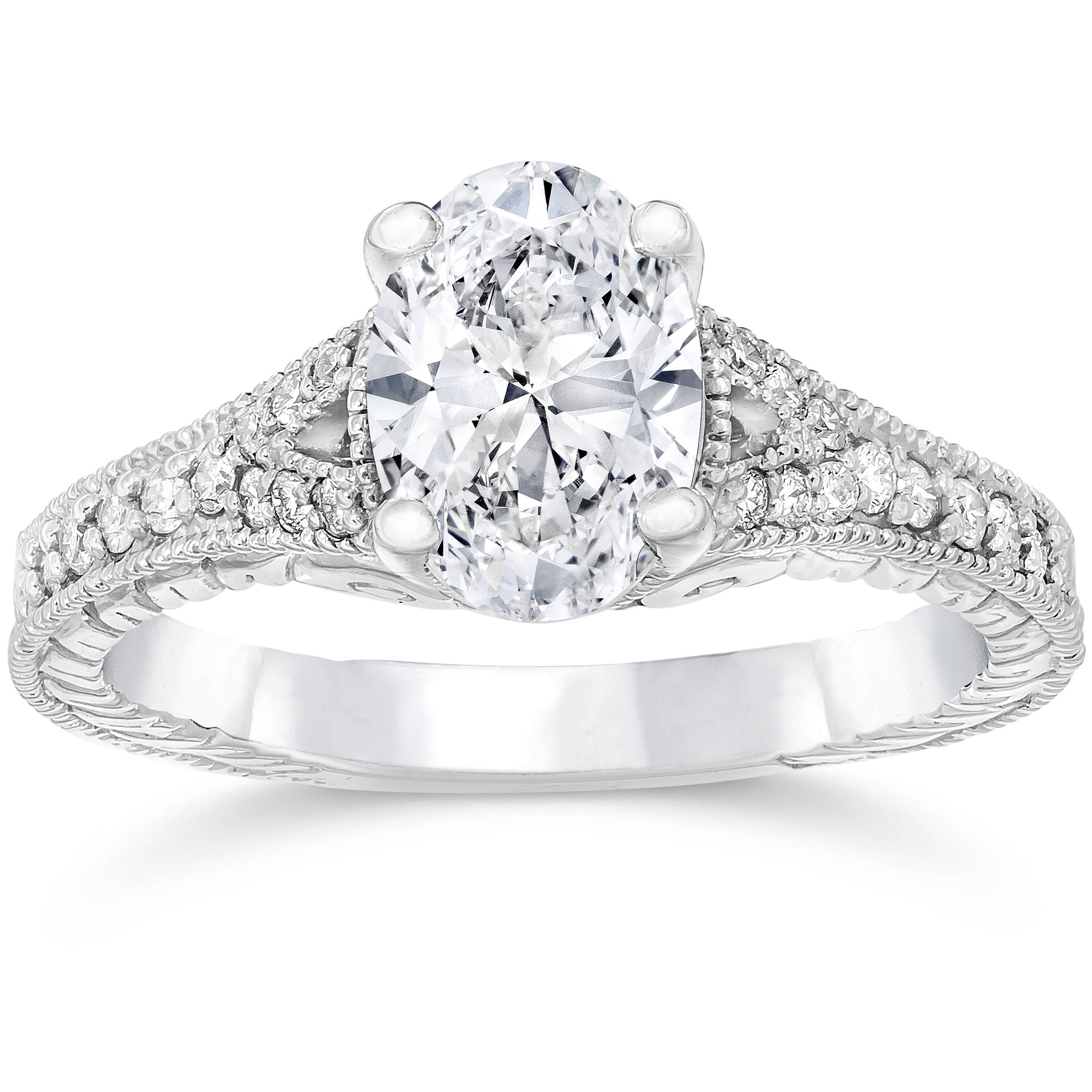 1 1/4ct Oval Diamond Vintage Engagement Ring Solitaire