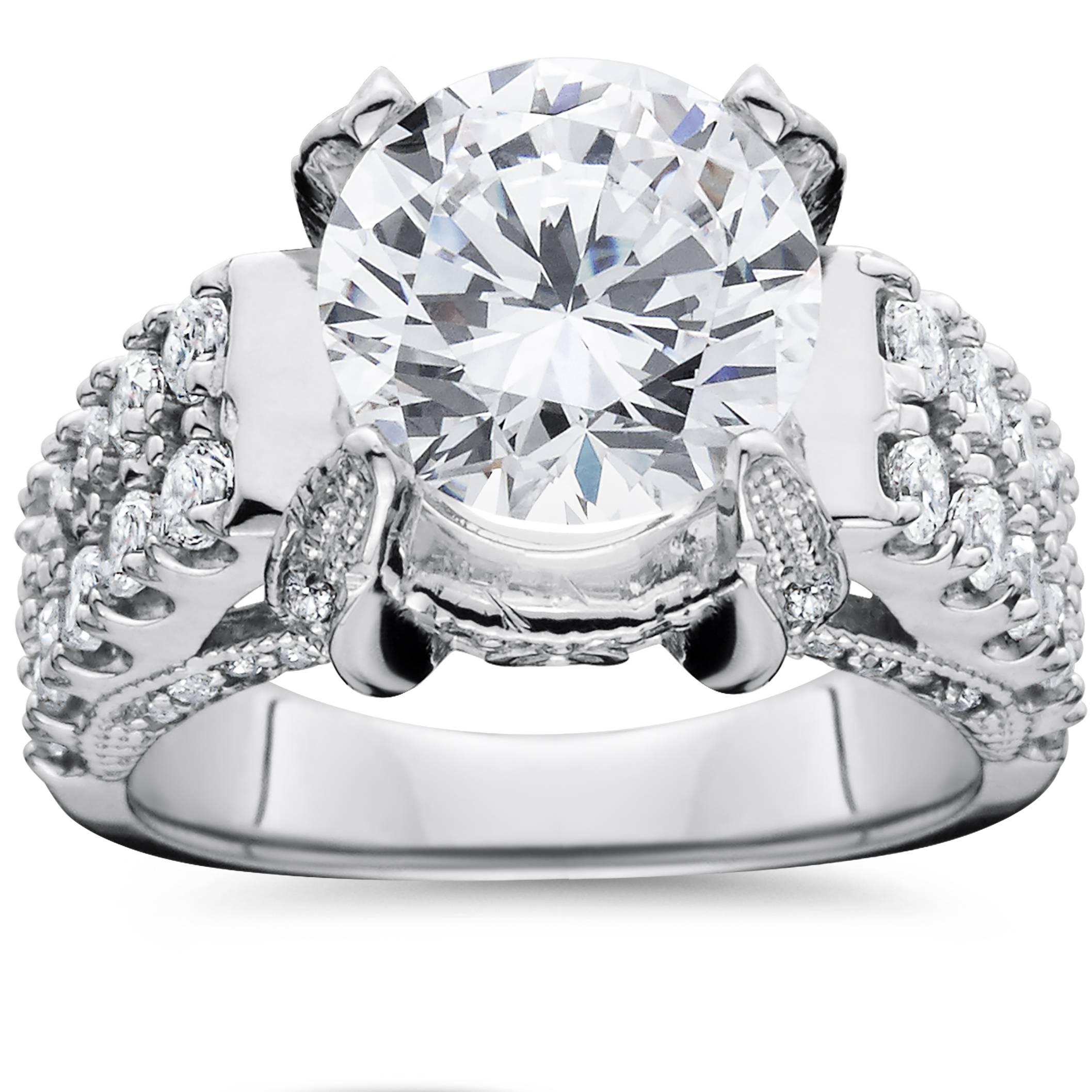 4.50 Carat Large Enhanced Diamond Engagement Ring 14K