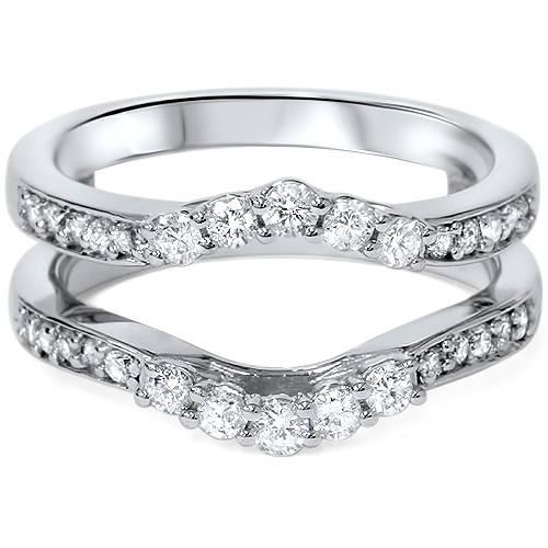 1 2ct Diamond Guard Ring Insert Enhancer 14k White Gold Ebay
