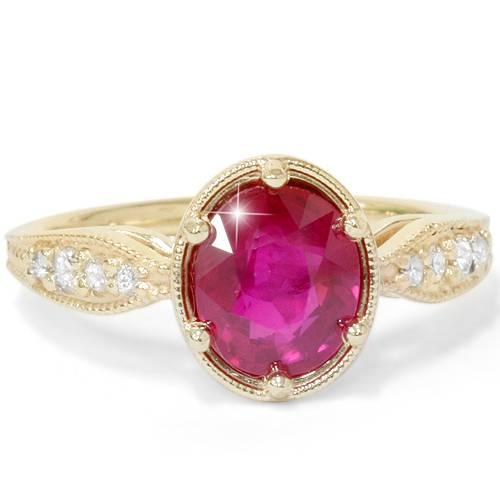 1ct ruby amp diamond vintage oval ring 14k yellow gold ebay