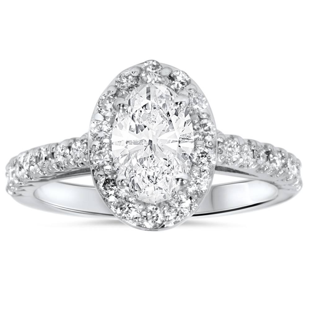 1 1/2ct Oval Clarity Enhanced Diamond Halo Engagement Ring